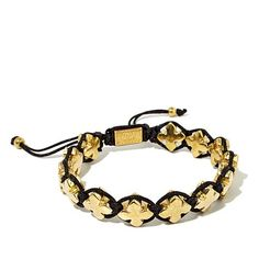King Baby Jewelry Macrame Goldtone Crosses Bracelet | HSN