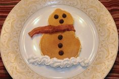 I love the bacon scarf! For a real food breakfast use homemade whole-wheat pancake batter and raisins instead of chocolate chips.