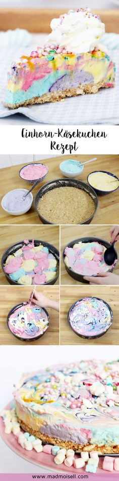 Baking Unicorn Cheesecake: A simple recipe for your next unicorn party! - Where are the unicorn freaks? At the latest after my unicorn donuts and unicorn easter eggs last mo - Sweet Recipes, Cake Recipes, Dessert Recipes, Dessert Blog, Delicious Recipes, Kids Meals, Easy Meals, Gateaux Cake, Cake & Co