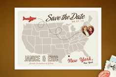 FINAL CHOICE! Going with this one and so excited! Up and Away Save the Date Cards by Unless Someone ...   Minted