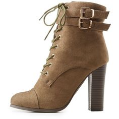 Wild Diva Lounge Lace-Up Chunky Block Heel Booties ($29) ❤ liked on Polyvore featuring shoes, boots, ankle booties, olive, olive green booties, lace up ankle booties, stacked heel booties, army green booties and chunky-heel boots