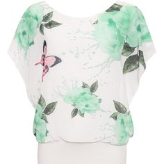 Asha Floral Butterfly Chiffon Top ($28) ❤ liked on Polyvore featuring tops, green, flower print tops, sleeveless tops, green floral top, floral print sleeveless top and floral sleeveless top