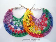 Rainbow colors crochet hoops 2 inch small by jamiesondesigns, $5.00