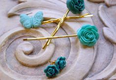 Teal Bobby Pin & Earring Set by piecesofaprilmel on Etsy, $12.50