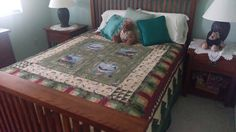This is a great quilt for the fisherman or outdoorsman. It is machine pieced and made with multiple types of patchwork. The large center blocks