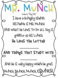 Mr. Munch-Letter sound muncher poem!!