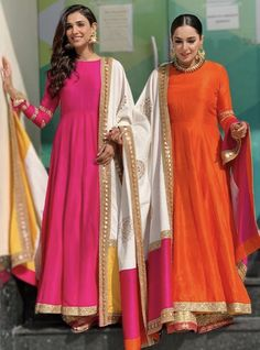 suit Pure Silk Color Block Anarkali Suit designs indian style You are in the right place about clothes for women everyday Here we offer you the most beautiful pictures about the clothe Pakistani Dresses, Indian Dresses, Indian Outfits, Indian Skirt, Indian Attire, Indian Wear, Indian Style, Serie Suits, Mode Bollywood