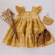 Handmade Heirlooms at Dannie and Lilou Top Boho, Bohemian Girls, Natural Clothing, Dresses Kids Girl, Doll Dresses, Frill Dress, Oeko Tex 100, Tiered Dress, Handmade Clothes
