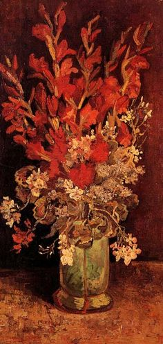 Vincent van Gogh: Vase with Gladioli and Carnations.  Oil on canvas.  Paris: Summer, 1886.  Private collection.
