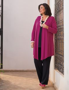 Box 2 fuchsia crepe jersey jacket, vest and wide trouser