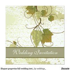 """Elegant grapevine fall wedding invitation 5.25"""" square invitation card"""
