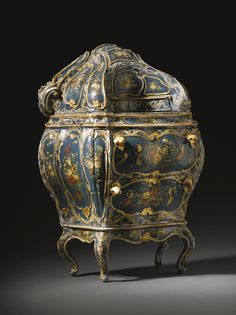 OTT ? *An Italian polychrome and blue lacquered, parcel-gilt and 'a merletto' decorated carved bureau, Venetian mid 18th century