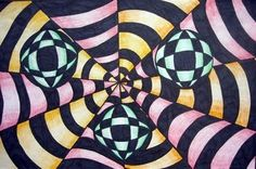 Op Art - I did this with several of my homeschool co-op classes.  (3rd-12th grade)  They all loved it and they all turned out great.  I hope to do this again with other students.  I even made one on an artist trading card, so any size will work.