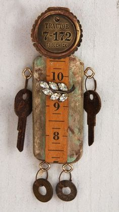 Keyed Up assemblage by Jeanette Janson Collages, Collage Art, Found Object Art, Found Art, Tin Art, Scrap Metal Art, Recycled Art, Repurposed, Ideas Geniales