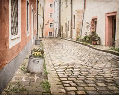 Old World Charm, Cobblestone Street, City Photography, Europe Photography, Living Room Print, Dining Room Print, Rust Tones, Pansies - pinned by pin4etsy.com