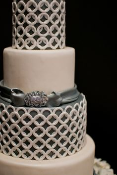 Gray and white modern wedding cake