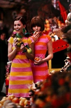 1960s striped dress fashions.