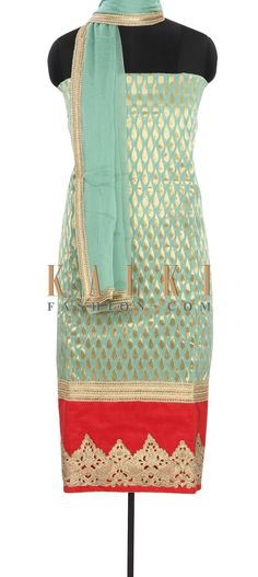 Buy Online from the link below. We ship worldwide (Free Shipping over US$100) Price- $69 Click Anywhere to Tag http://www.kalkifashion.com/mist-green-unstitched-suit-enhanced-in-cut-work-border-only-on-kalki.html