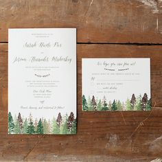 The Katie is a take on one of our best-selling rustic wedding invitations. A generous A9 size (5.5x8.5), the woodsy feel is carried out with