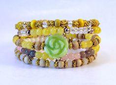 First Rose of Spring coil bracelet by Lumibon
