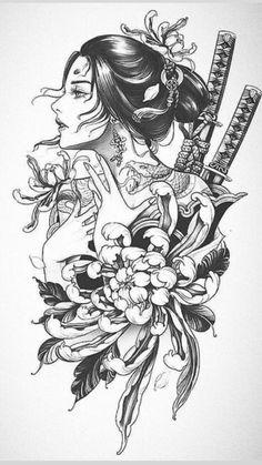 Geisha Tattoo Design, Tattoo Design Drawings, Tattoo Sleeve Designs, Tattoo Sketches, Sleeve Tattoos, Japanese Tattoo Art, Japanese Tattoo Designs, Japanese Tattoo Symbols, Forearm Tattoos