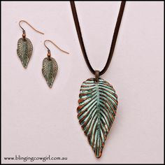 Metal Leaf Pendant Suede Necklace & Earring Set Patina Copper - Suede   www.blingingcowgirl.com.au