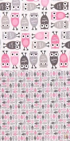 "white cotton fabric with many small pale pink & grey owls, very high quality fabric, typical great Robert Kaufman quality, Material: 100% cotton, Fabric Width: 112cm (44"") #Cotton #Animals #AnimalPrint #Owls #USAFabrics"
