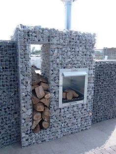 Awesome outdoor fire pit ideas images on this favorite site Gabion Fence, Gabion Wall, Fencing, Outdoor Fire, Outdoor Living, Outdoor Stone, Landscape Design, Garden Design, Grill Set