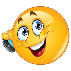 Smiley calling on mobile phone