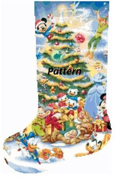 Cross Stitch Christmas Stockings, Cross Stitch Stocking, Christmas Stocking Pattern, Disney Stockings, Dmc Floss, Stitch Kit, Colorful Pictures, Cross Stitching, Needlepoint