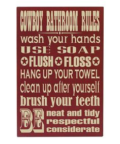Take a look at this Red & Cream Cowboy Bathroom Wall Art by Vinyl Crafts on #zulily today!