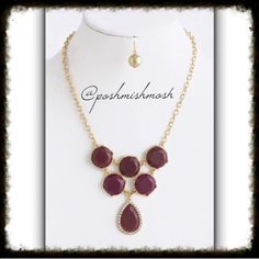 "Burgundy Faceted acrylic teardrop necklace set Faceted acrylic teardrop necklace & earrings.   The color looks like a mixture of burgundy and purple.  Length approx 15"" Teardrop 0.8"" x 1.3"" Lobster claw clasp with 3"" extender Lead and nickel compliant. #200J Jewelry Necklaces"