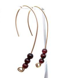 Genuine Gold Genuine Garnet Hook Earrings by GlossyRegalia on Etsy, $25.00