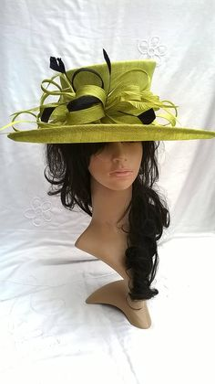 Lime hat..Stunning Sinamay Hat ..with looped trim and biot Large Brim 7a324a612f7e