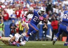 49ers vs. Bills:     October 16, 2016  -  45-16, Bills  -     Oct 16, 2016; Orchard Park, NY, USA;  Buffalo Bills running back LeSean McCoy (25) runs the ball during the first half against the San Francisco 49ers at New Era Field. Mandatory Credit: Timothy T. Ludwig-USA TODAY Sports