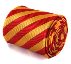 red and yellow gold thin striped tie with by FrederickThomas