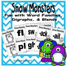 Digital download, 33 pages, $3, available at https://www.teacherspayteachers.com/Product/Snow-Monsters-Fun-with-Word-Families-Digraphs-and-Blends-3037494  This game is designed to give students extra practice with word families, digraphs and blends. Shuffle cards and stack with word chunk facing down. Students take turns drawing from the top and saying the word chunk aloud. They keep each card they correctly name. Unknown cards go face down under the deck. If a student draws the monster card…