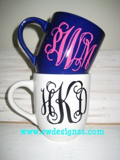 prissy ideas his and her coffee mugs. Custom  Personalized Monogrammed Coffee Mug Stocking Stuffer Square Plate Prissy Ribbon by 2chichicks