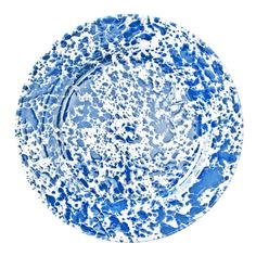 BLUE ENAMEL SPLATTERWARE DINNER PLATE