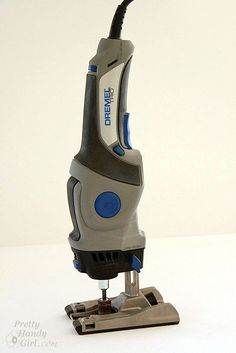 Tool Tutorial Friday - Using a Dremel TRIO Today we'll be learning about the Dremel TRIO! This smaller power tool fits comfortably in your hand. The tool is a cross between a jigsaw, router, and regular dremel. It has a rotating bit that Dremel Trio, Used Woodworking Tools, Wood Tools, Woodworking Projects, Woodworking Hinges, Carpentry Tools, Woodworking Equipment, Woodworking Workshop, Diy Tools