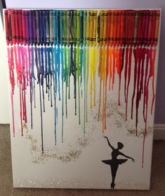 DIY melted crayon art with ballerina silhouette and glitter