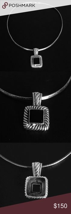 """Sterling Omega with Sterling & Onyx Slide Estate Find!  Stunning Sterling Silver 17"""" Domed 5MM Omega Chain with a Sterling and Black Onyx Slide Pendant.  Slide measures 1.5"""" tall with bail by 1"""" wide.  Omega is stamped 925 Italy and ATI.  The pendant is stamped 925.  These pieces were purchased as a set and I am hoping to sell as a set.  If you are interested in only one of the pieces please message me for pricing.  I love this particular piece because of it's versatility... dressy or…"""