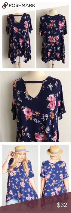 """Floral keyhole tunic Floral tunic. Rayon/ spandex. Super soft and stretchy! Semi unfinished hem. Sharkbite hem- Length measurement is shortest/ longest points. Very TTS! I'm a 2x/16/18 and the 2x fit perfectly on me. Pattern may vary slightly from photos  1x: L 30/35"""" B 40"""" 2x: L 30/35"""" B 42"""" 3x: L 31/36"""" B 44"""" Made in the USA ⭐️This item is brand new without tags Price is firm unless bundled ✅Bundle offers Availability: 1x•2 Tops Tunics"""