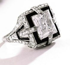 Art Deco, Platinum, Diamond and Onyx Ring, Tiffany & Co., circa 1925, ht
