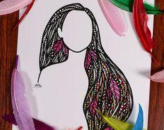 Zentangle mar cabello por ZenspireDesigns en Etsy