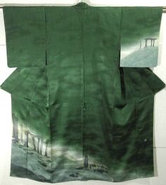 Japan, damask silk kimono, with undergrowth scenery