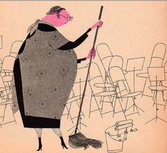 What makes and Orchestra' written and illustrated by Jan Balet, 1965. Lady.png