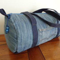 Sac polochon en jean recycle taille moyenne