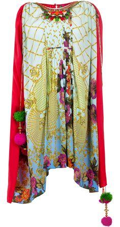 Blue mat print kaftaan short dress available only at Pernia's Pop-Up Shop.