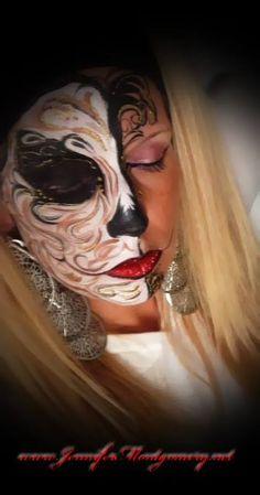 Half Face Sugar Skull Face Painting design by artist Jennifer Montgomery of Philadelphia PA and Key West,FL www.jennifermontgomery.net